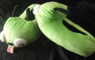 CUTE INVADER ZIM GIR DOG GREEN PLUSH SLIPPERS XL 11 12