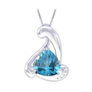 14K White Gold Trillion Gemstone and Diamond Pendant Swiss