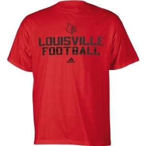 Louisville Cardinals Red adidas Football T Shirt Sports