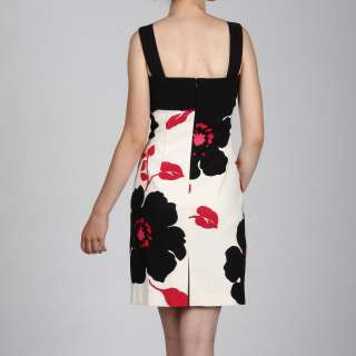 Jessica Howard Womens Black/Pink Floral Bodice Detail Dress