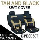 13pc set tan black auto car seat covers free steering