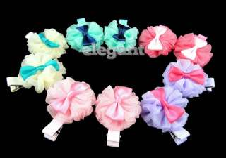 Hat Top Chiffon Flower Rosette Pointed Girls Hair Clip Tutu Pettiskirt