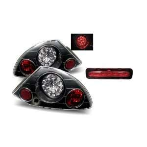 00 05 Mitsubishi Eclipse Black LED Tail Lights + LED 3rd Brake Lights