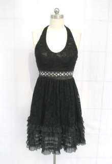 BL722 BLACK BEADED SEQUIN LAYERED LACE PADDED DRESS XXL