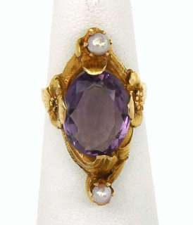 VINTAGE ART NOUVEAU 14K GOLD & AMETHYST BAND RING