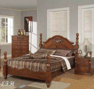 NEW COUNTRY PONDEROSA QUEEN WALNUT WOOD FOUR POST BED
