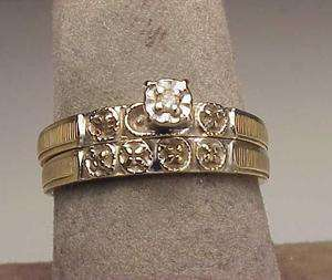 Vintage 14K Two Tone Gold Diamond Engagement Ring Set