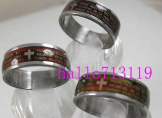 36pcs Mood Lords Prayer Bible Cross Stainless steel RINGS WHOLESALE