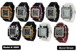GENEVA 10PCS SQUARE ANIMAL PRINT SILICONE WATCHES, ASST