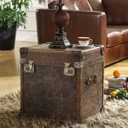 Wildon Home Steamer Leather Storage Cube End Table Wildon Home Steamer