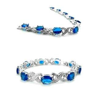JEWELRY BLUE SAPPHIRE WHITE GOLD PLATED TENNIS BRACELET CHAIN