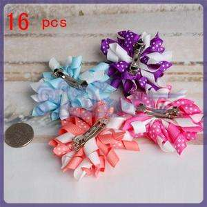 16 Lot grosgrain ribbon Girls Baby Hair Bow French Clip