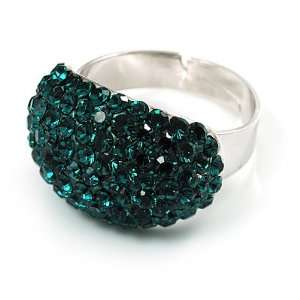 Swarovski Crystal Dome Shape Silver Tone Ring (Teal Green) Jewelry