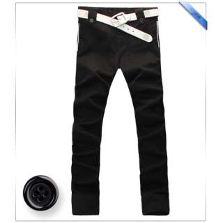 MENS CASUAL SLIM FIT STRAIGHT PANTS PENTALONS HOSEN (BELT NOT INCLUDED