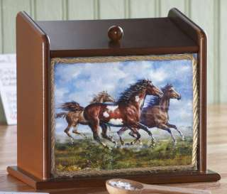 Galloping Running Horses Western Kitchen Wooden Recipe Box