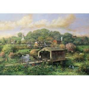 Covered Bridge 250 Piece Wooden Jigsaw Puzzle Toys & Games