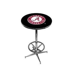 University of Alabama Pub Table   Black   Chrome Base with