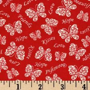 44 Wide Love Notes Butterflies Red Fabric By The Yard