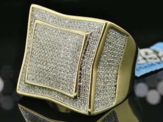 MENS 1 CT YELLOW GOLD ROUND DIAMOND PINKY RING PAVE XXL