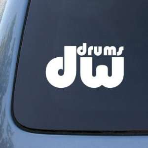 DW Drums   6 WHITE DECAL  Car, Truck, Notebook, Vinyl Decal Sticker