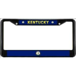 Kentucky KY State Flag Black License Plate Frame Metal