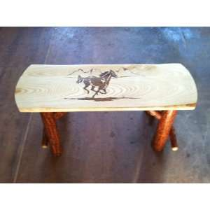 Rustic Sassafras Farm Bench with Running Horse Woodburn