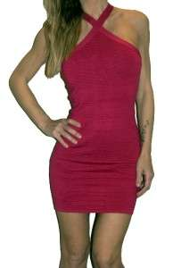 PINK SEXY MINI HALTER BODYCON BANDAGE DRESS SMALL