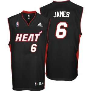 LeBron James Youth Jersey adidas Black Replica #6 Miami Heat Jersey