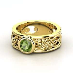 Alhambra Ring, Round Green Tourmaline 14K Yellow Gold Ring