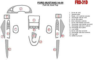 Ford Mustang Wood Chrome Dash Trim Kit Parts 94 00