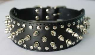 2inch Wide Brand New Studded Leather Dog Collars for Pit bull German
