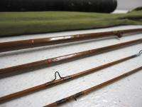 Antique Split Bamboo 4 Pc 8 FT Fly Fishing Rod W/ Canvas Case & Tube