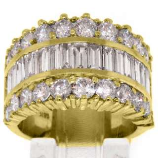 68 CARAT WOMENS BAGUETTE ROUND CUT DIAMOND RING WEDDING BAND YELLOW