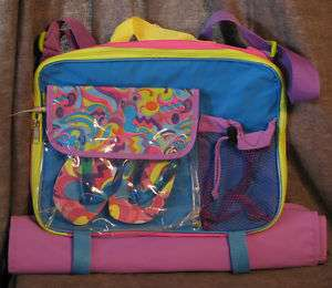 NWT Girls Beach Bag w/ Flip Flop Sandals & Mat S/M M/L