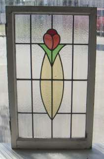 Tall Antique Stained Glass Window Arts n Crafts Tulip