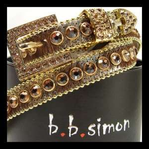 bb simon GOLD Brown Pony Slim LEATHER Belt SWAROVSKI