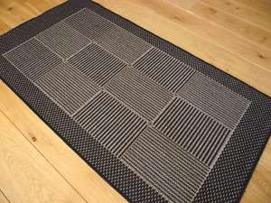 Small Durable Silver Black Flat Weave Hearth Rugs Mats