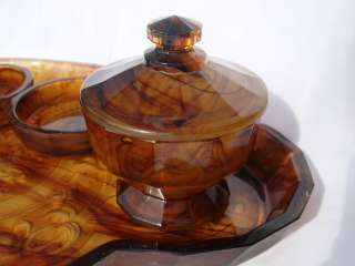 Art Deco Davidson Ribbon Cloud Glass Dressing Table Set