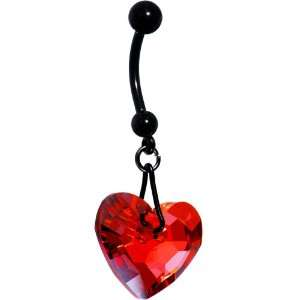 Ruby Red Heart Belly Ring MADE WITH SWAROVSKI ELEMENTS Jewelry