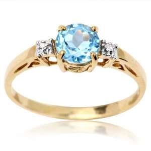 Round Cut Blue Cubic Zirconia and Diamond Accent Ring 9.0 Jewelry
