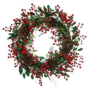 Mixed Berry & Pine Cone Artificial Christmas Wreath
