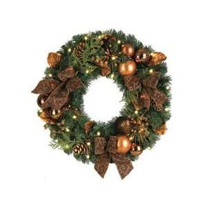 Lighted Pre Decorated B/O Artificial Christmas Wreath   Clear Lights