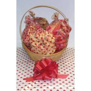 Large Valentines Day Cookie Lovers Basket with Handle Heart Wrapping