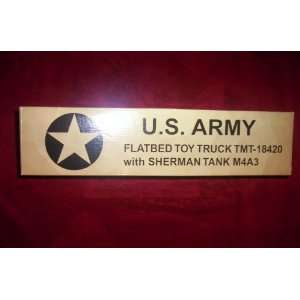 U.S. ARMY FLATBED TOY TRUCK TMT 18420 WITH SHERMAN TANK