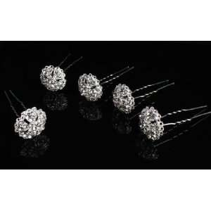 Package of 12 Rhinestone Flower Hair Jewelry  Fashionable Hair Pins