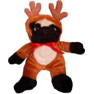 PUG dog CHRISTMAS REINDEER puppy STUFFED ANIMAL toy
