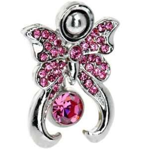 Pink Top Mount Cubic Zirconia Butterfly Shield Belly Ring Jewelry