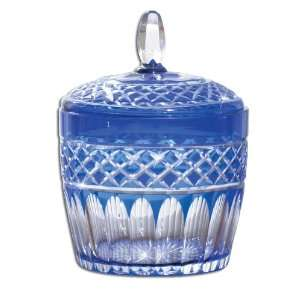 Cut Glass Jar With Lid   Cobalt Blue With Detailed