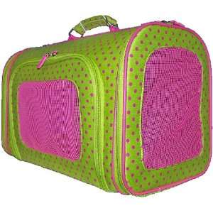 Pet Carrier   Luggage Style   Polka Dot   Green & Pink