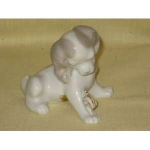 Gray & White Porcelain Cocker Spaniel Dog w/ Snail Figurines   Made In
